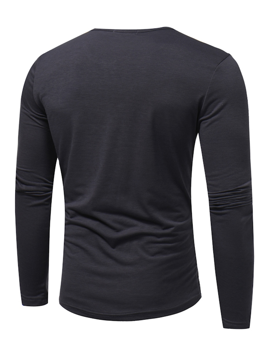 Ericdress Plain Round Neck Casual Slim Men's T-Shirt