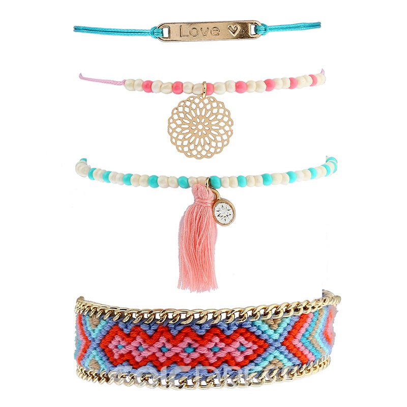Ericdress Bohemia Style Beads Tassel Multilayer Bracelet