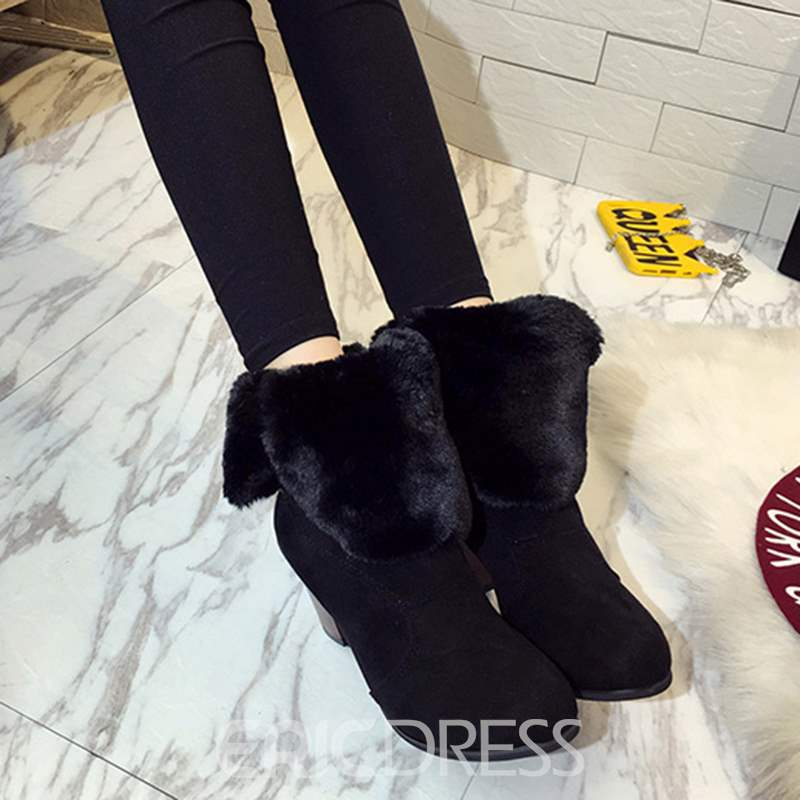 Ericdress Warm Slip-On Plain High Heel Ankle Boots