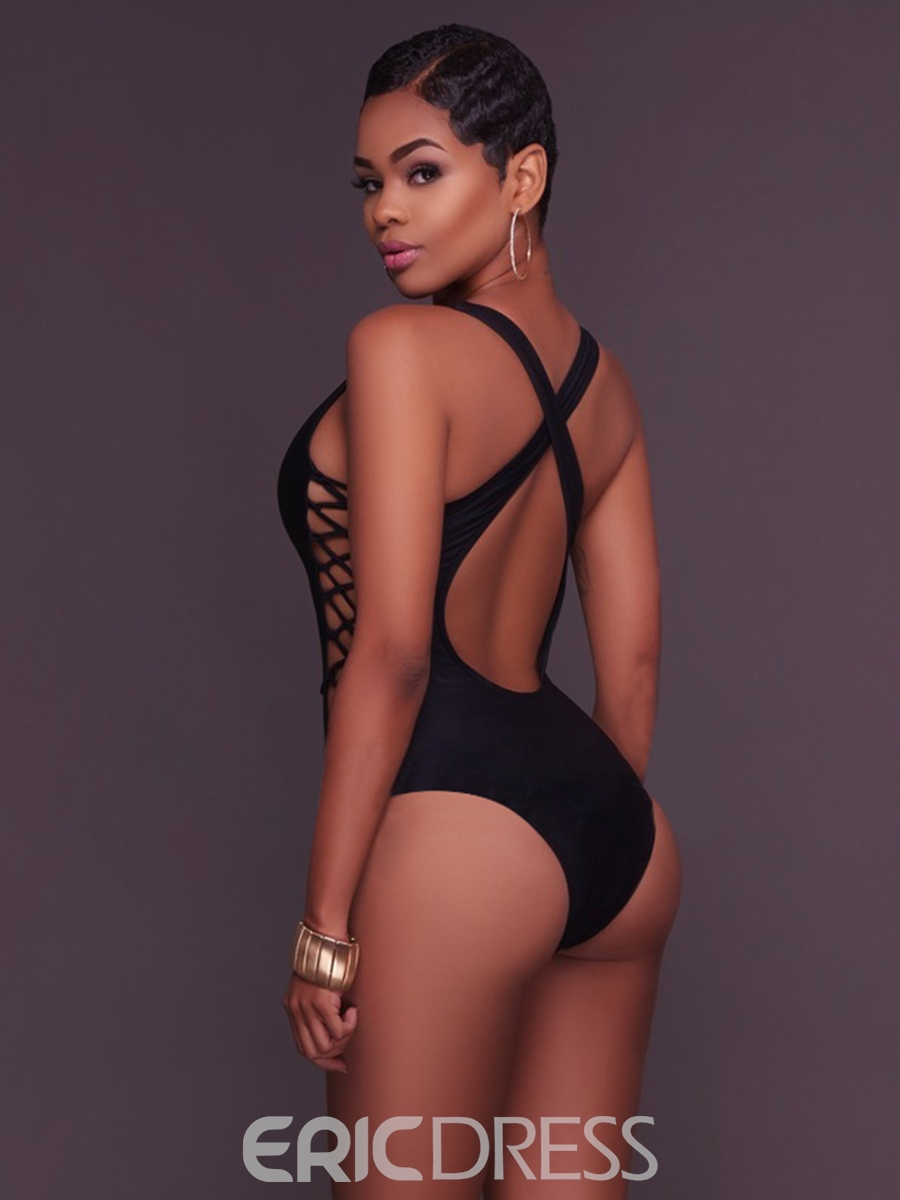 Ericdress Deep V-Neck Hollow Backless Monokini
