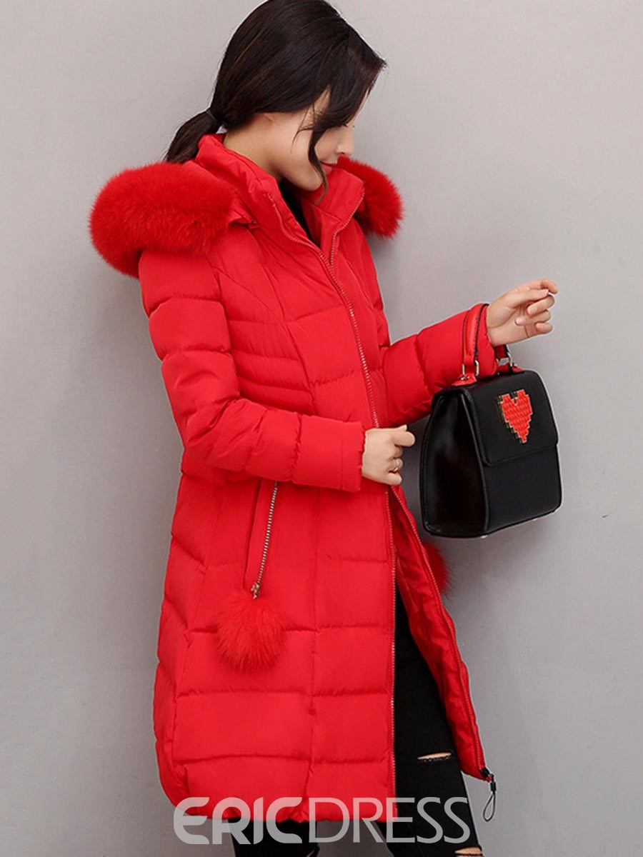 Ericdress Mid-Length Plain Fur Collar Down Coat