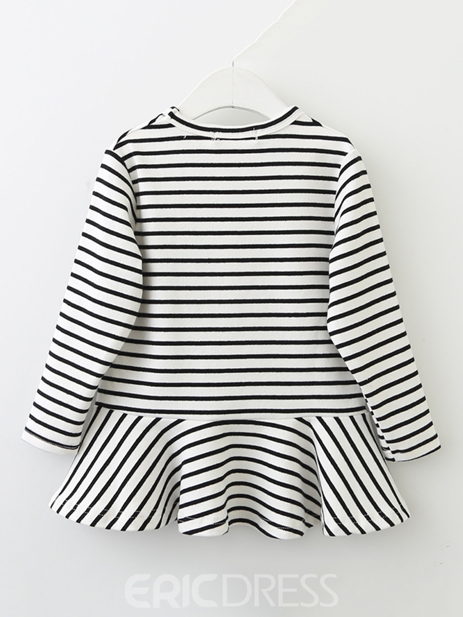 Ericdress Rabbit Pattern Striped Falbala Girl's Dress