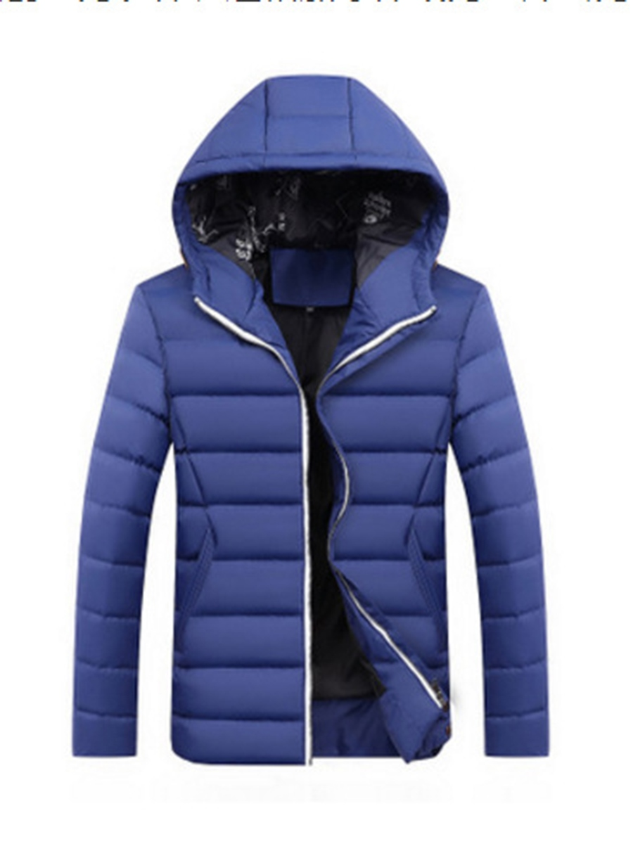 Ericdress Plain Zip Hooded Men's Winter Coat