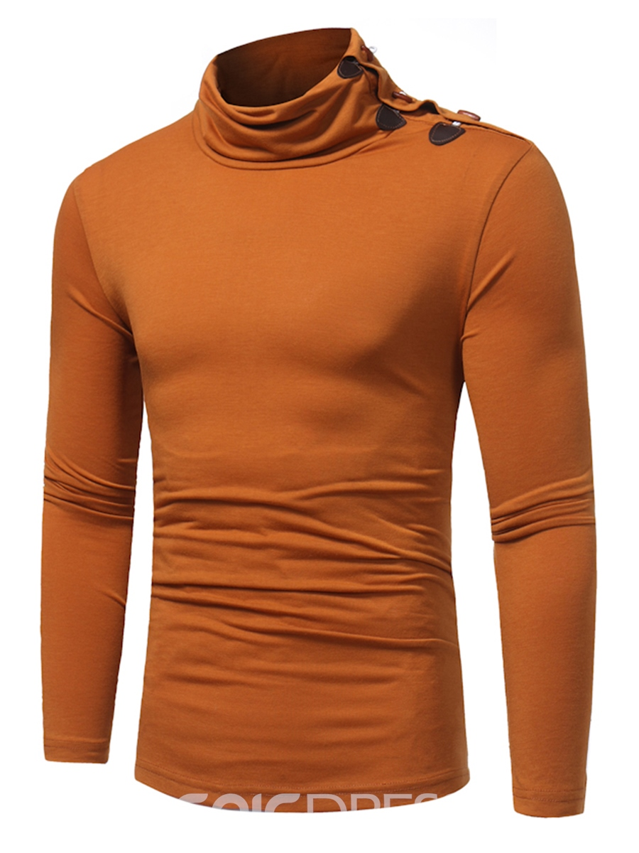 Ericdress Solid Color Stand Collar Long Sleeve Men's T-Shirt