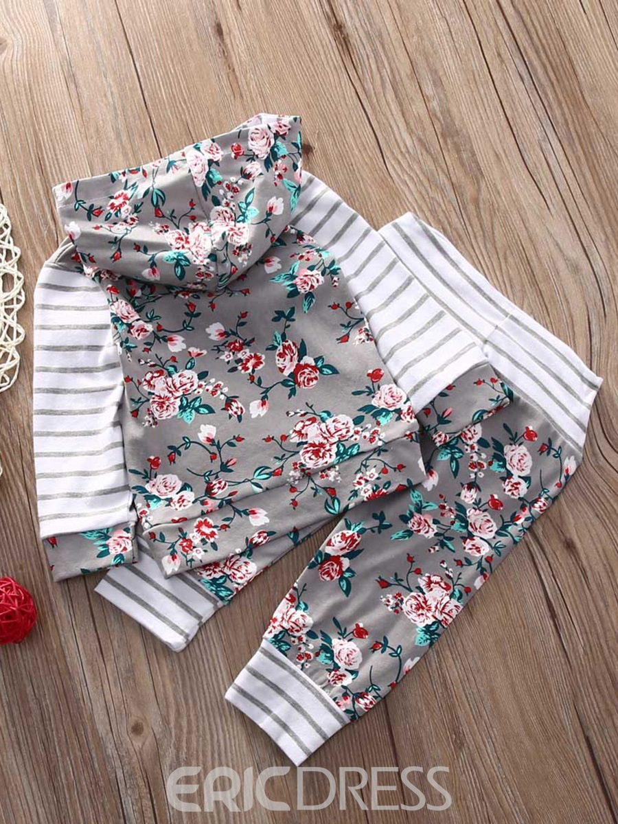 Ericdress Floral Pullover Hoodie And Pant 2-pcs Baby Girls Outfits