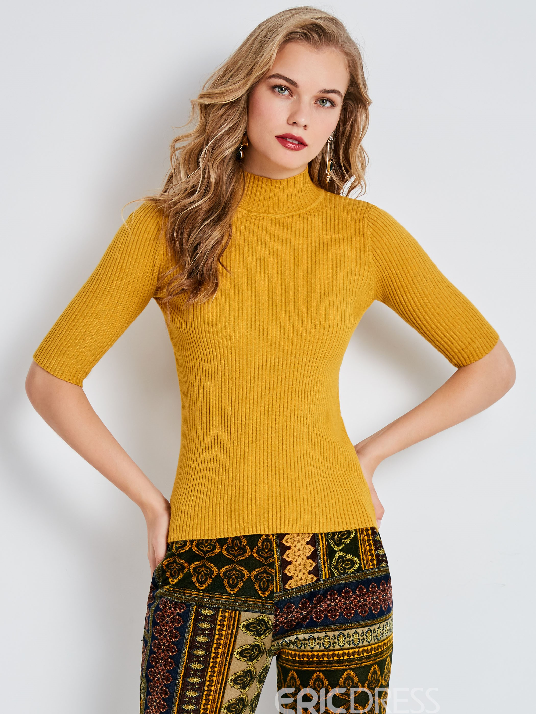 Ericdress Turtleneck Half Sleeve Pullover Knitwear