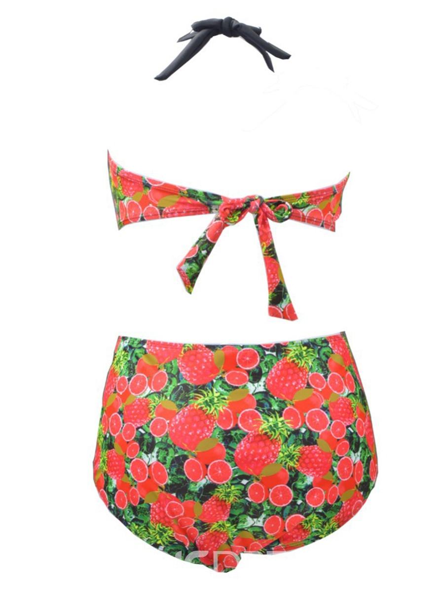 Ericdress Fruit Print Pleated High/Mid Waist Bikini Set