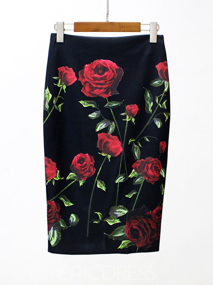 Ericdress Floral Bodycon Column Skirts