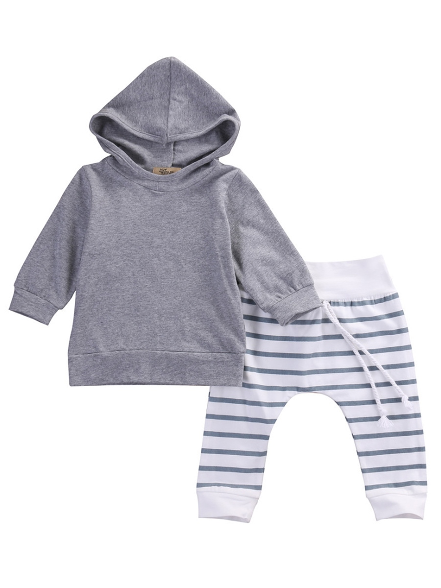 Ericdress Pullover Hoodie And Stripe Pant 2-pcs Baby Boys Outfits