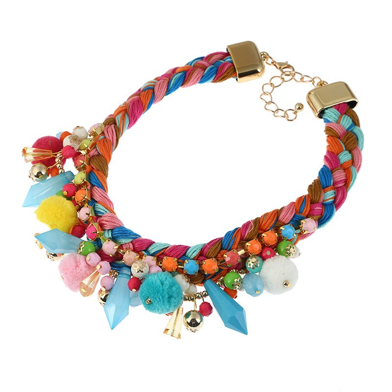 Ericdress European Style Fuzzy Ball Colorful Necklace for Women