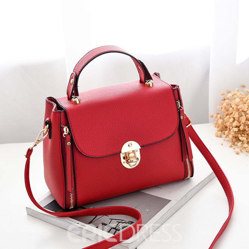 Ericdress Solid Color Latch Design Women Handbag
