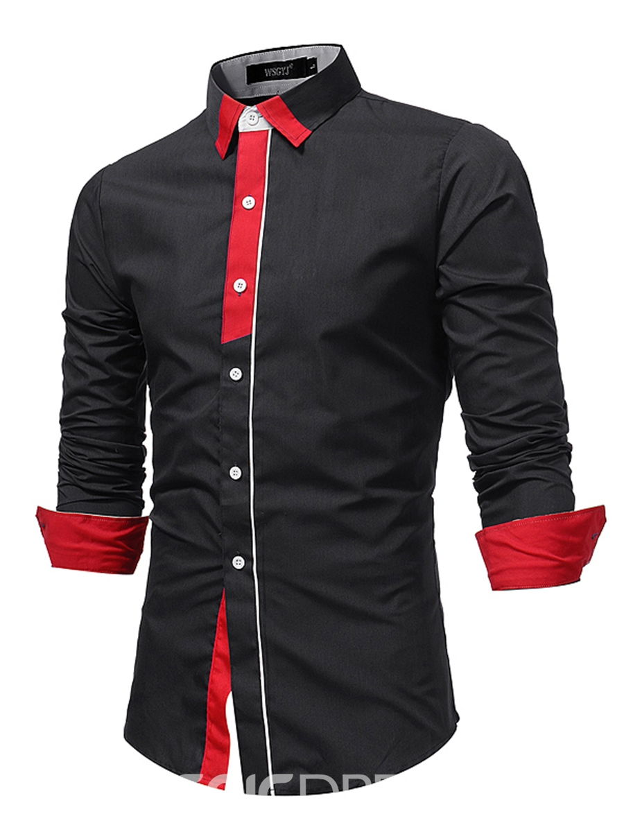 Ericdress Patchwork Lapel Casual Men's Shirt