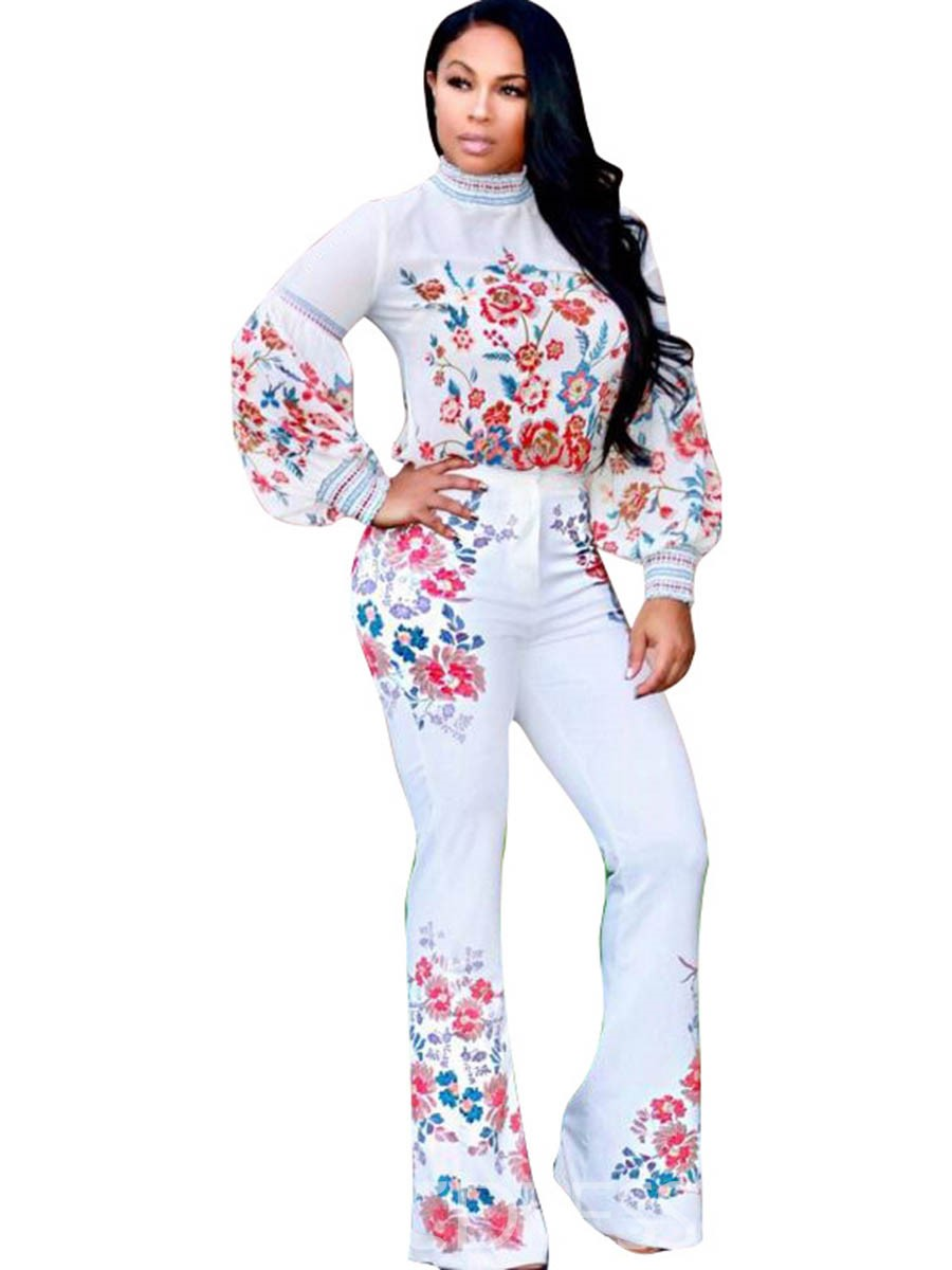Ericdress Print High Neck Floral Bellbottoms Suits