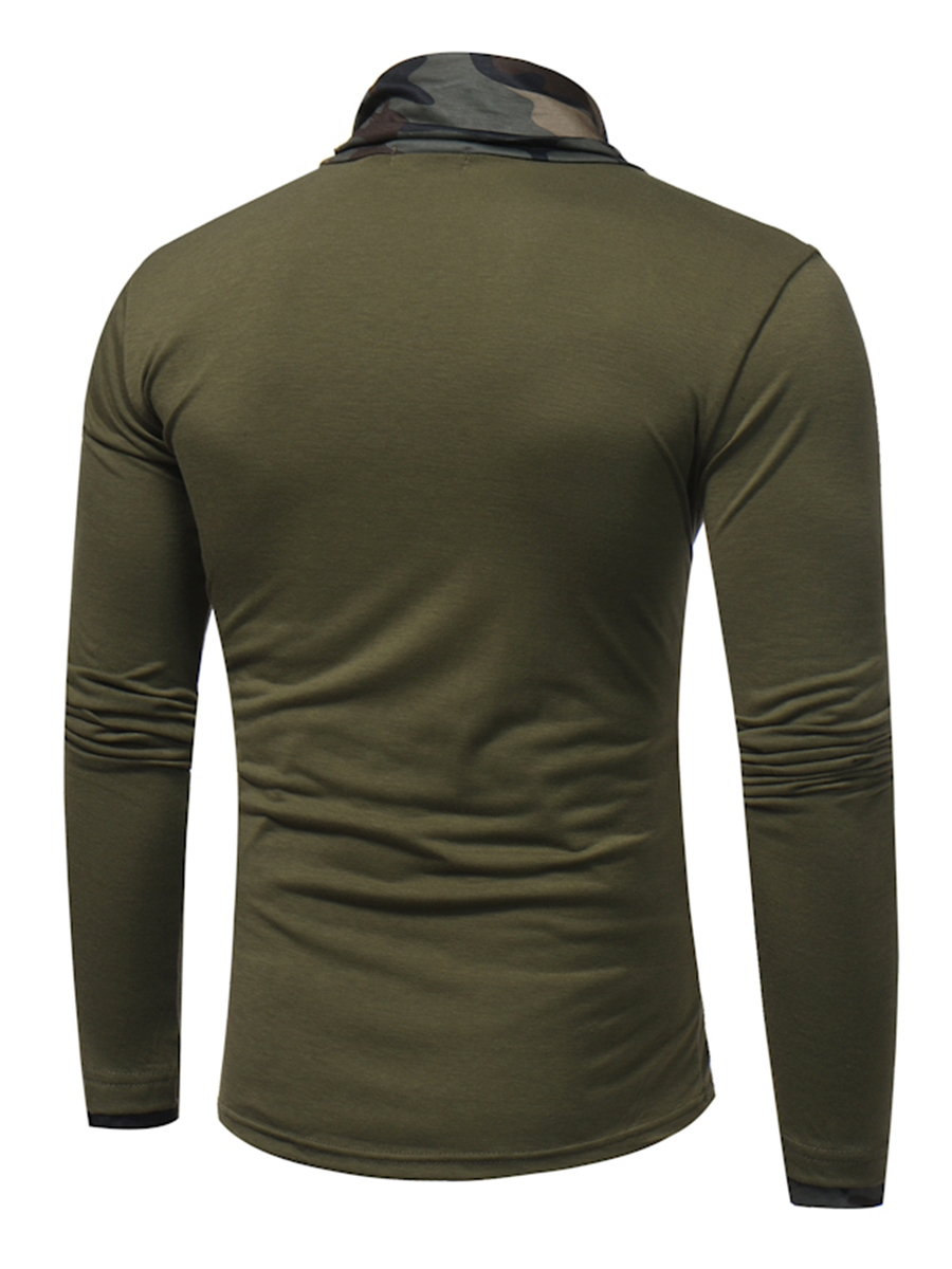 Ericdress Camouflage Stand Collar Long Sleeve Men's T-Shirt
