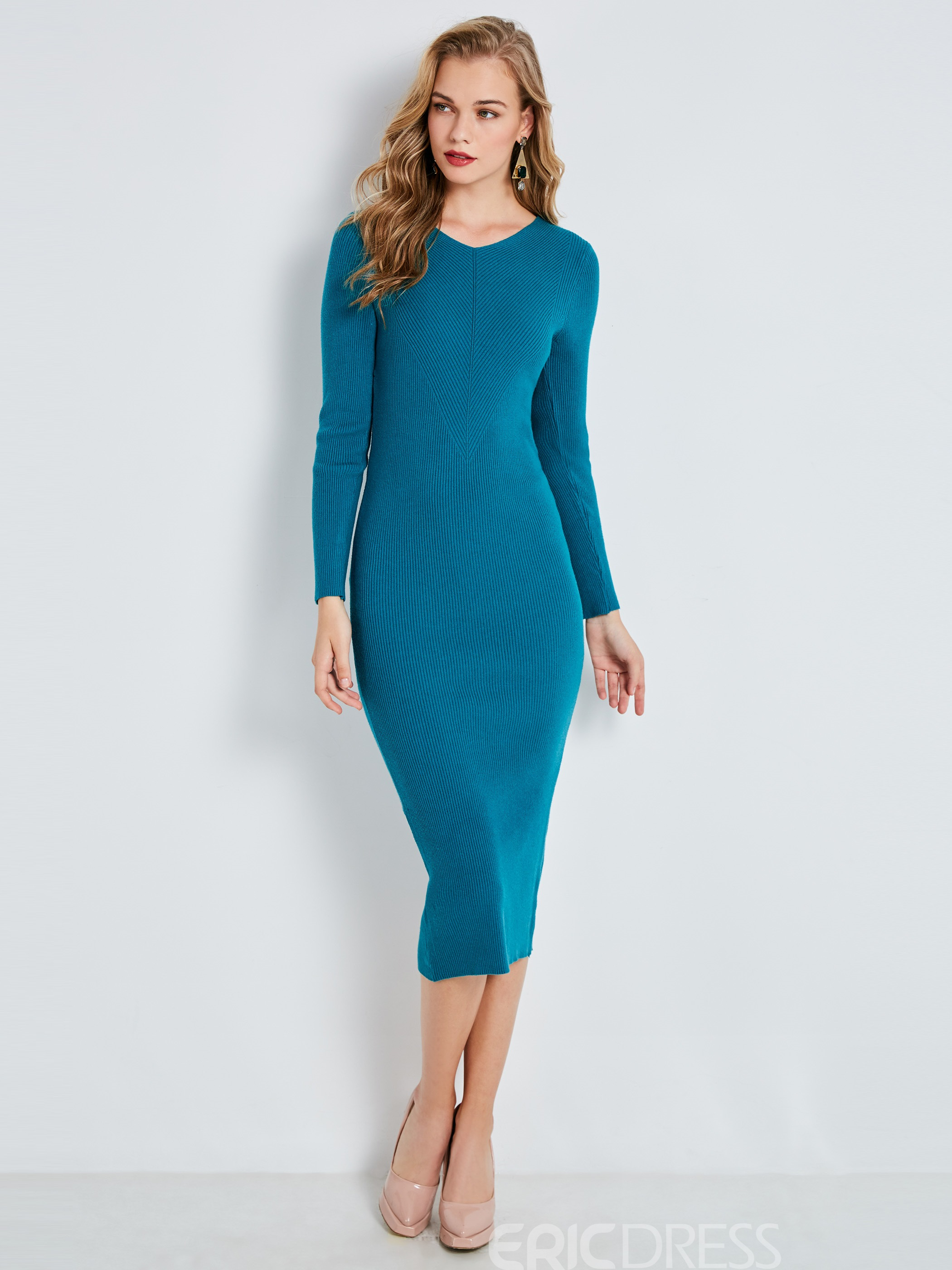 Ericdress V-Neck Mid-Calf Plain Long Sleeve Bodycon Dress 12977143 ...