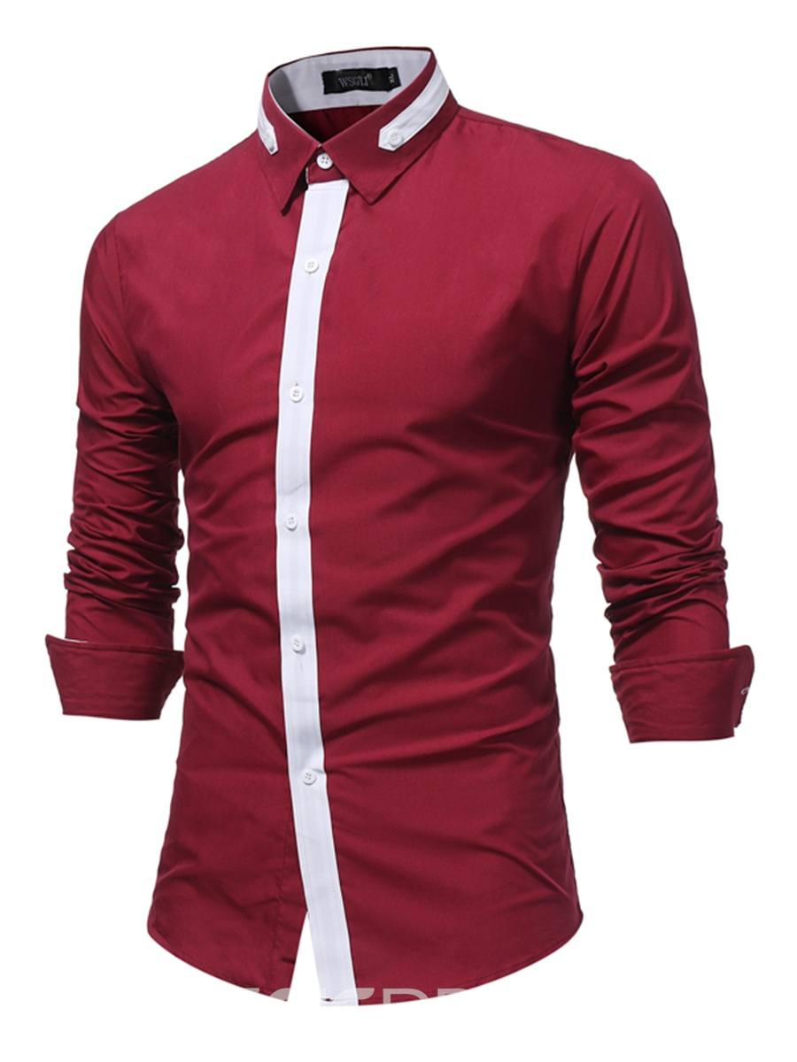 Ericdress Patchwork Lapel Single-Breasted Men's Shirt