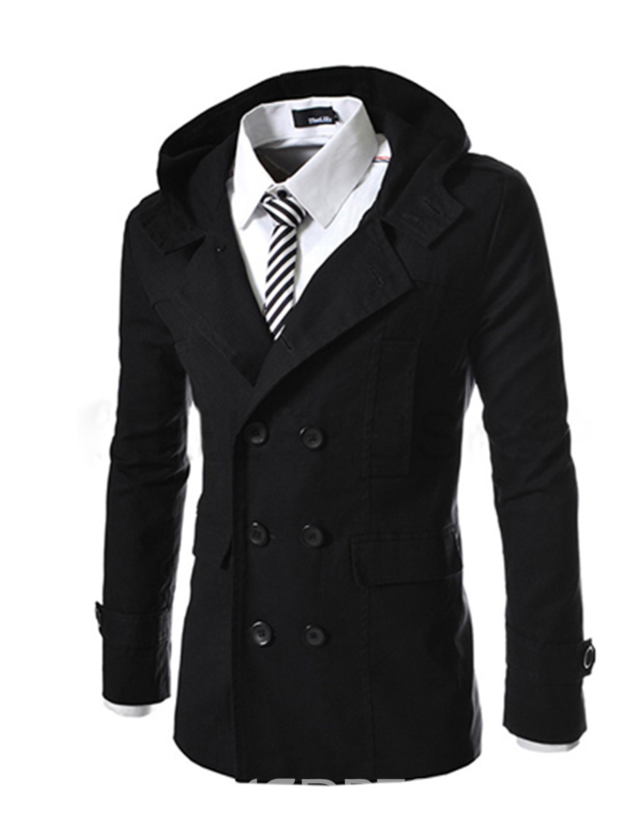 Ericdress Plain Mid-Length Double-Breasted Men's Trench Coat ...