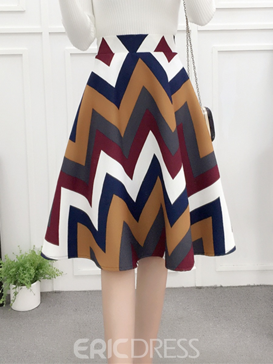 Ericdress Stripe Print Knee-Length Usual Skirts