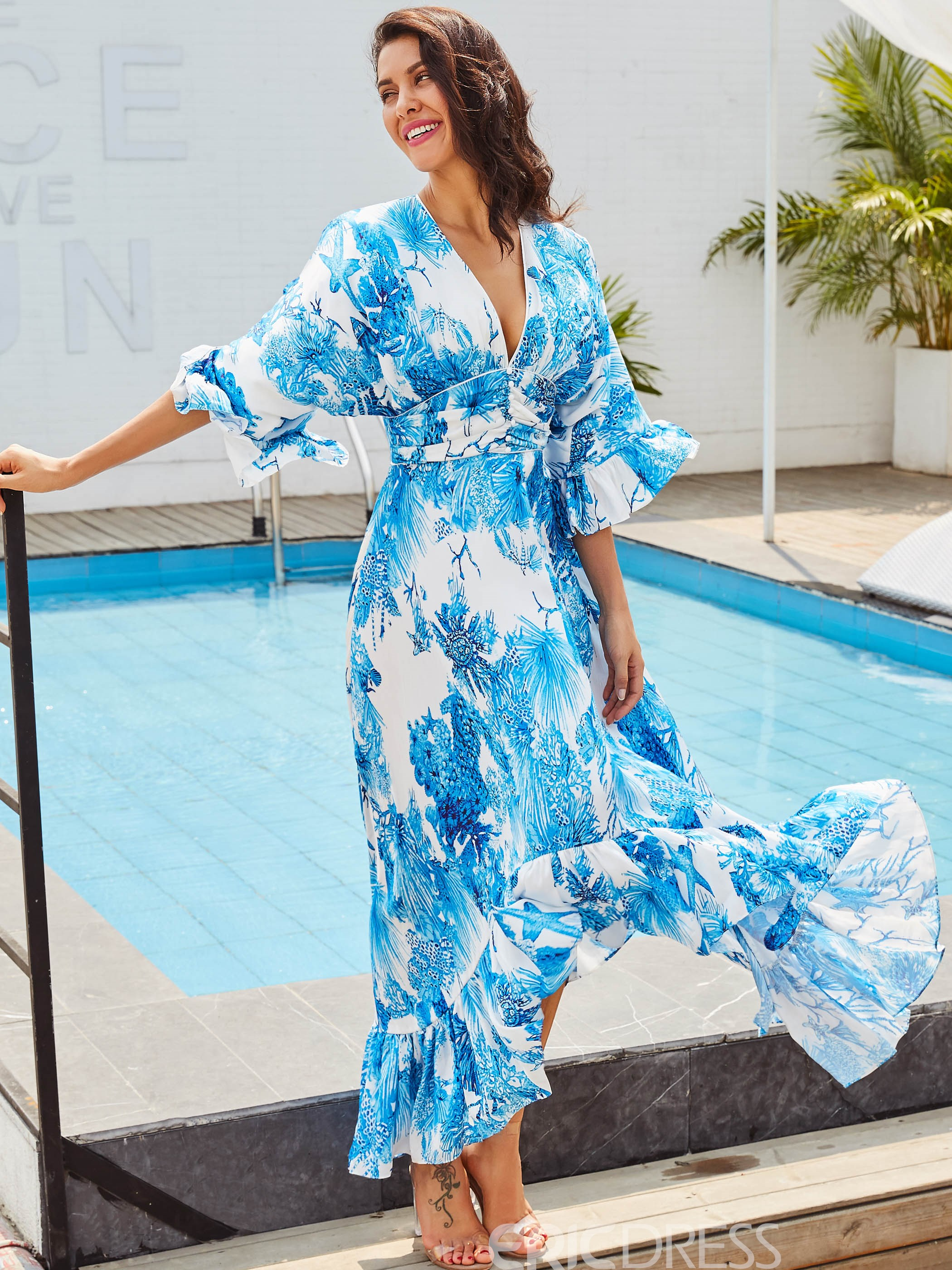 Ericdress V-Neck Ruffled Expansion Maxi Dress