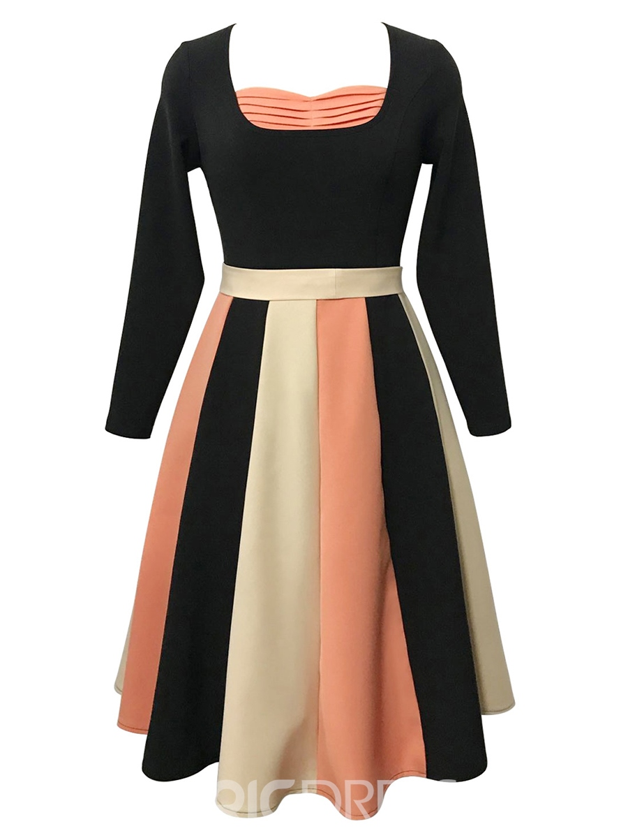Ericdress Bowknot Color Block A Line Long Sleeve Dress