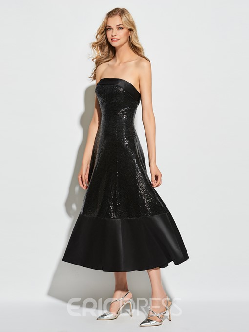 Ericdress A Line Strapless Sequin Tea Length Cocktail Dress