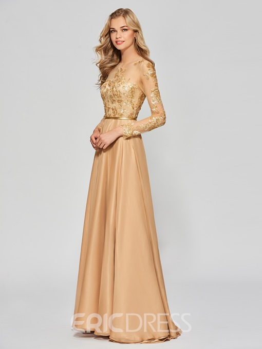Ericdress A Line Long Sleeve Sequin Applique Long Prom Dress