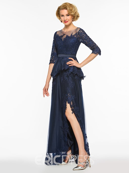 Ericdress Appliques Split Front Half Sleeves Mother Of The Bride Dress