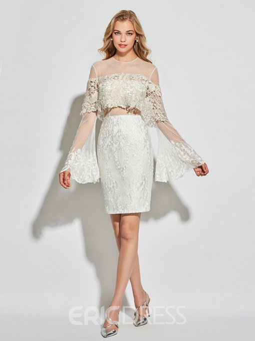 Ericdress Sheath Lace Long Sleeve Short Cocktail Dress