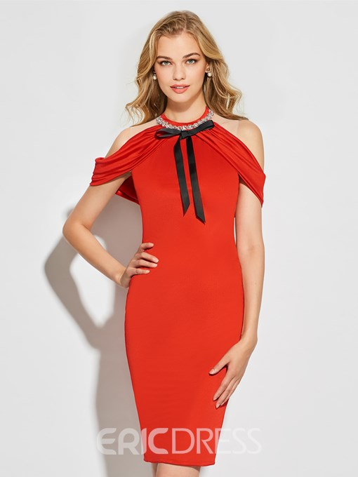 Ericdress Sheath High Neck Off The Shoulder Bodycon Homecoming Dress