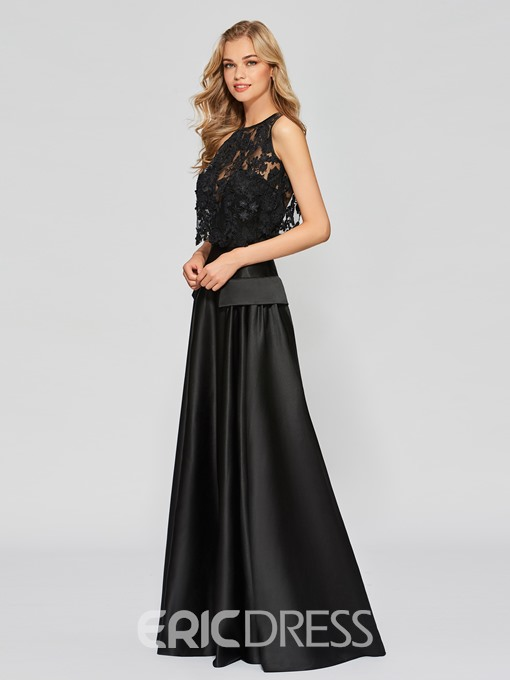 Ericdress A Line Applique Scoop Neck Lace Long Prom Dress