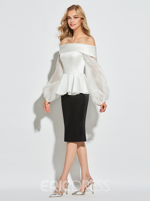 Ericdress Sheath Long Sleeve Off The Shoulder Short Cocktail Dress