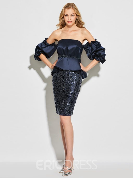 Ericdress Sheath Strapless Long Sleeve Sequin Beaded Cocktail Dress