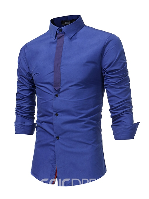 Ericdress Lapel Patchwork Single-Breasted Men's Shirt