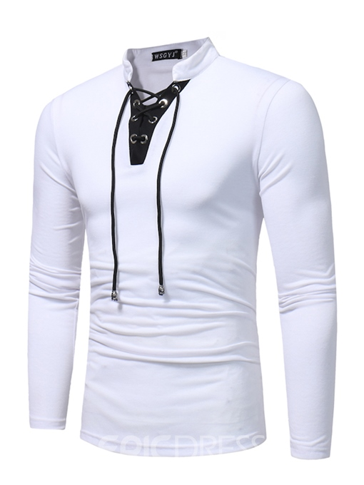 Ericdress Color Block Lace-Up Stand Collar Men's T-Shirt