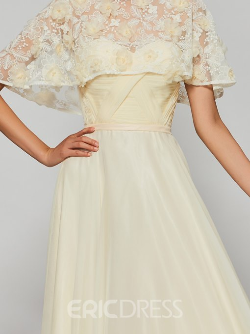 Ericdress A Line Bateau Neck Flower Applique Long Prom Dress