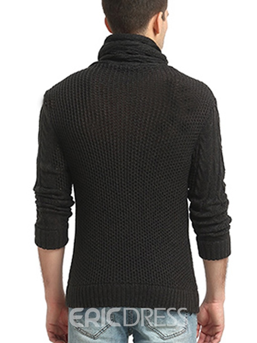 Ericdress High Collar Long Sleeve Unique Men's Pullover Sweater