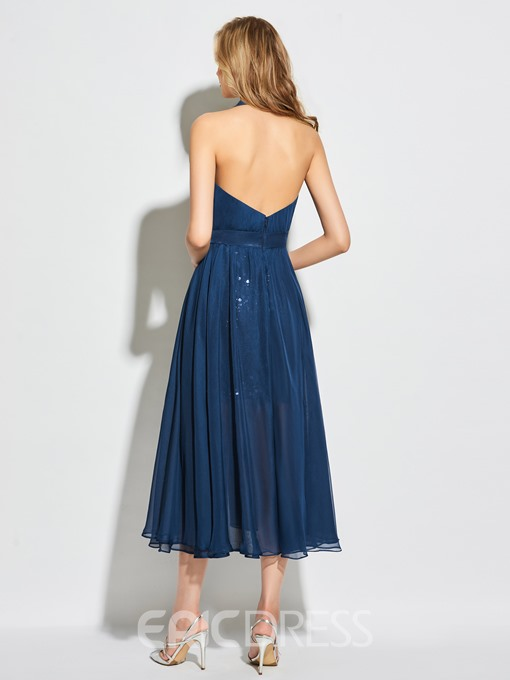 Ericdress A Line Deep Neck Halter Sequin Tea Length Cocktail Dress
