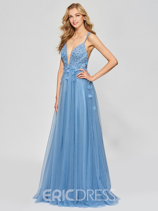 Ericdress A Line Long Spaghetti Straps Beaded Backless Prom Dress