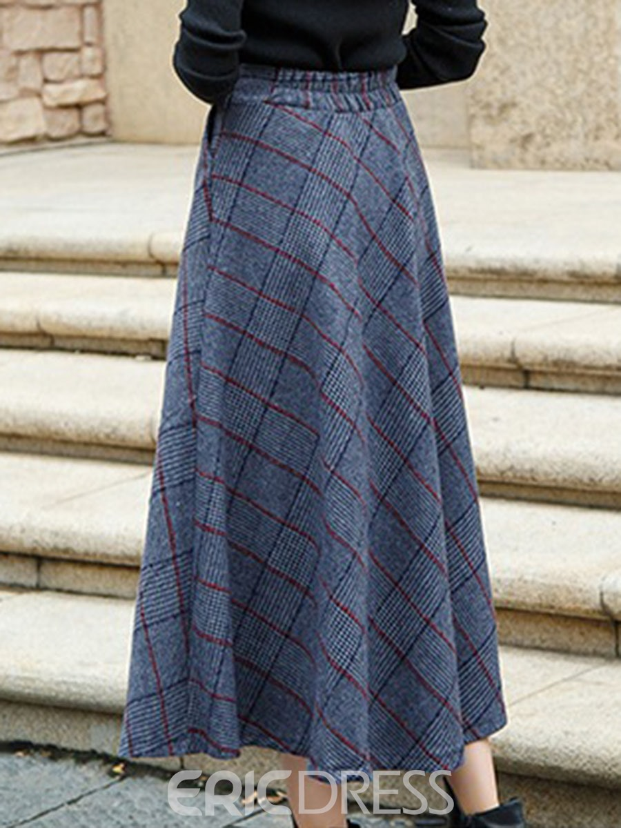 Ericdress Plaid High-Waist Pleated Skirts