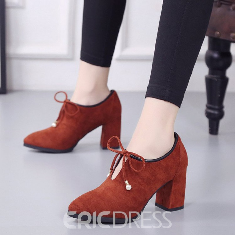 Ericdress Lace-Up Plain High Heel Boots with Beads