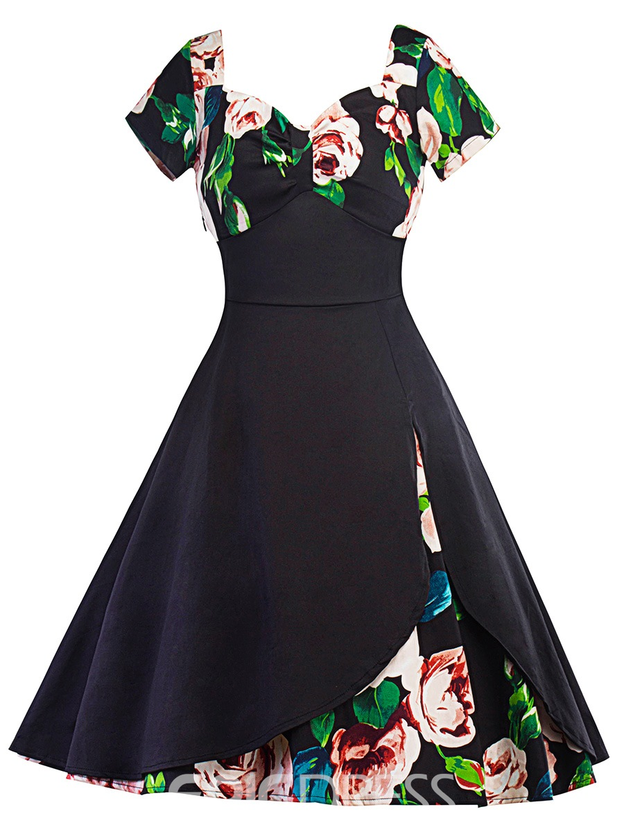 Ericdress V-Neck Floral Print Patchwork A Line Dress