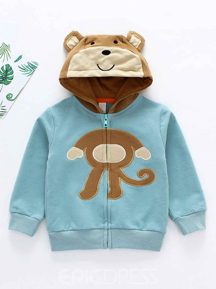 Ericdress Monkey Hooded Long Sleeve Cartoon Pattern Boys Outerwear