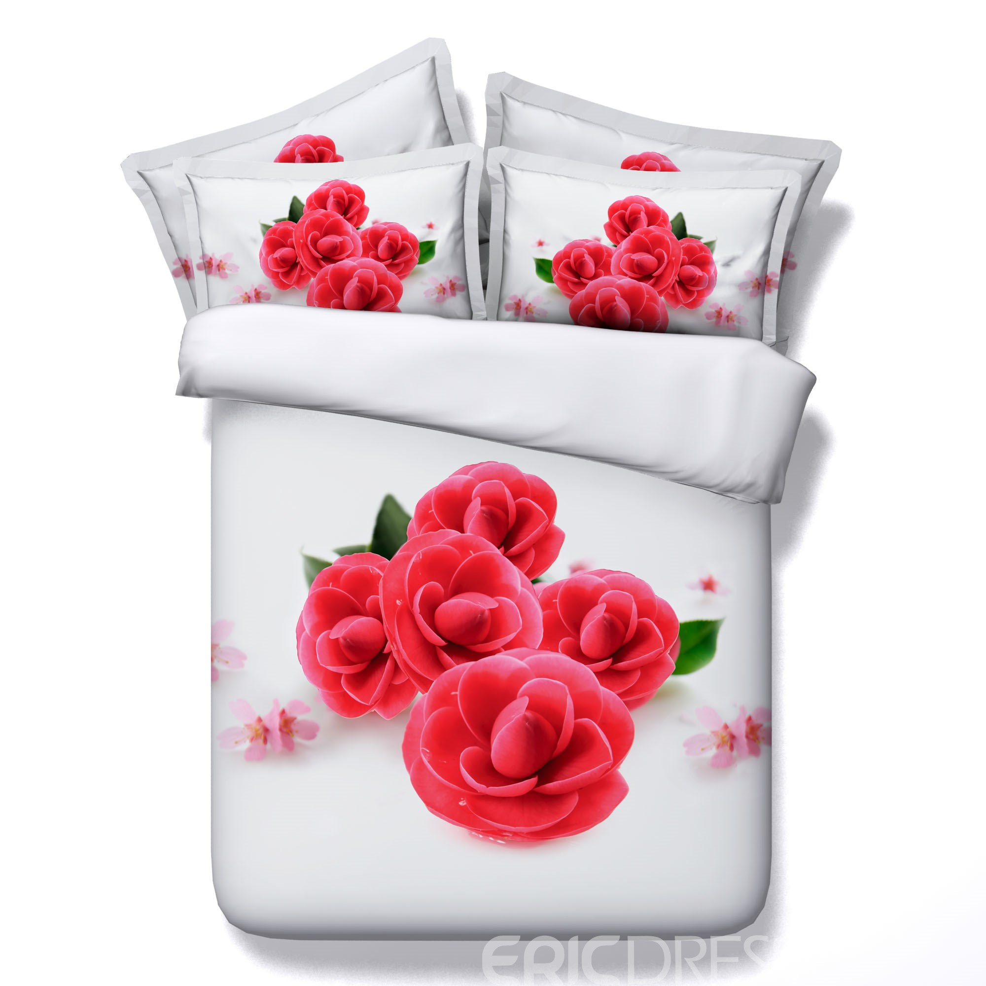 Vivilinen 3D Red Blooms Printed Cotton 4-Piece White Bedding Sets/Duvet Covers