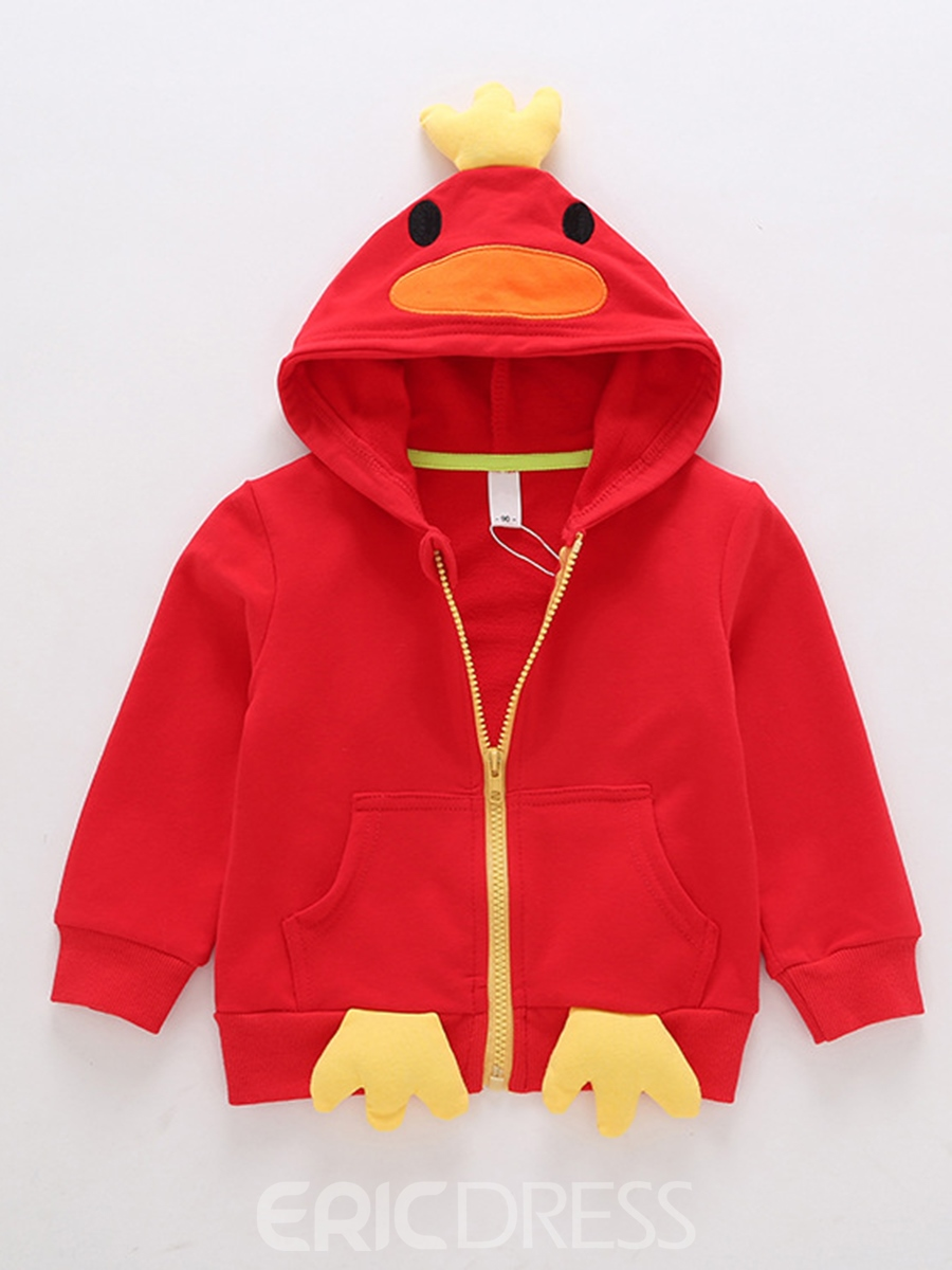 Ericdress Penguin Hooded Cotton Liner Zipper Loose Baby Boys Outerwear