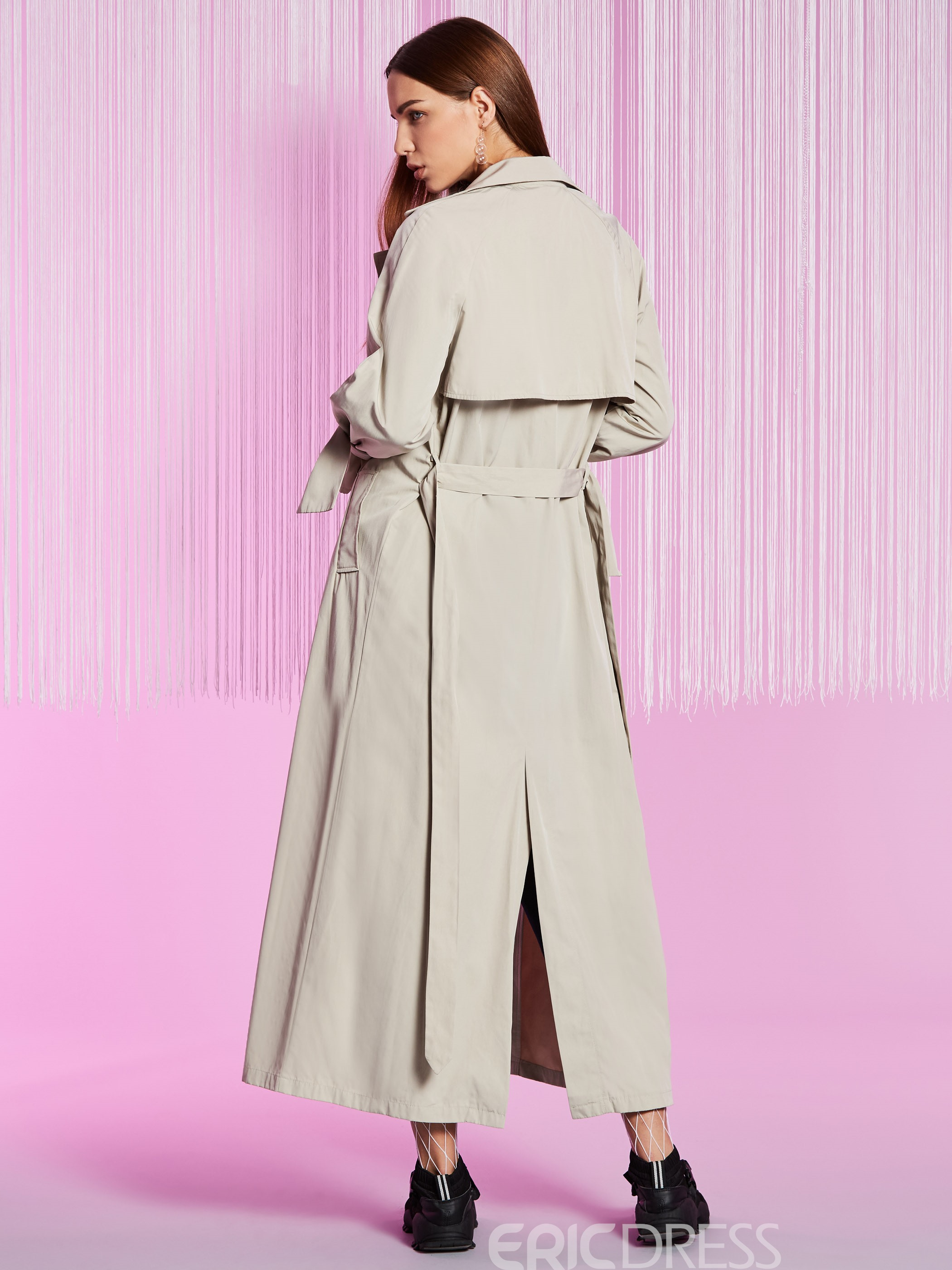 Ericdress Lapel Plain Lace-Up Trench Coat