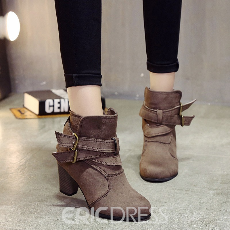 Ericdress Hasp Plain Round Toe High Heel Boots