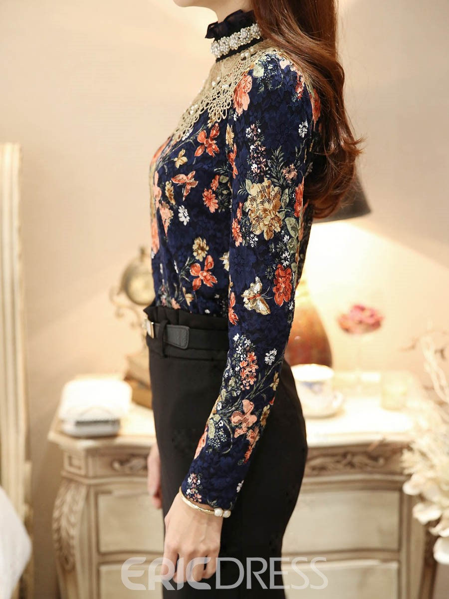 Ericdress Floral Hollow Bead Print Blouse