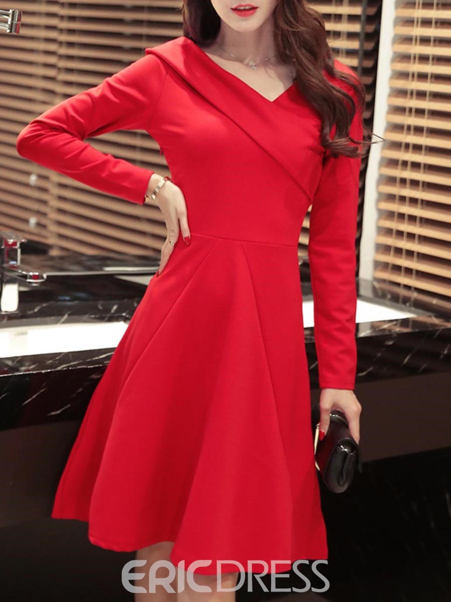 Ericdress Oblique Collar Long Sleeve A Line Dress