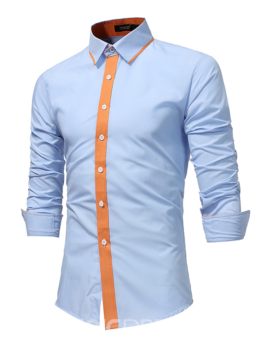Ericdress Patchwork Single-Breasted Unique Men's Shirt