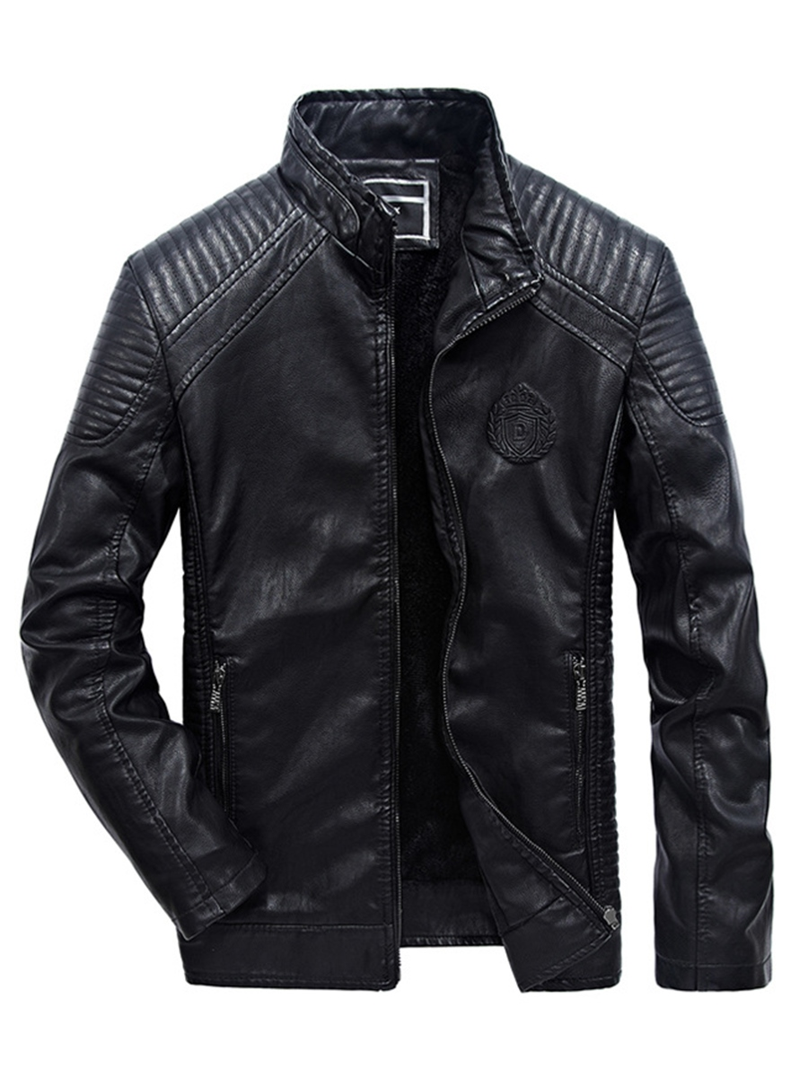 Ericdress Vintage Stand Collar PU Leather Men's Jacket